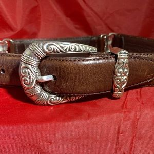 Brighton Brown Leather Silver Hardware Belt